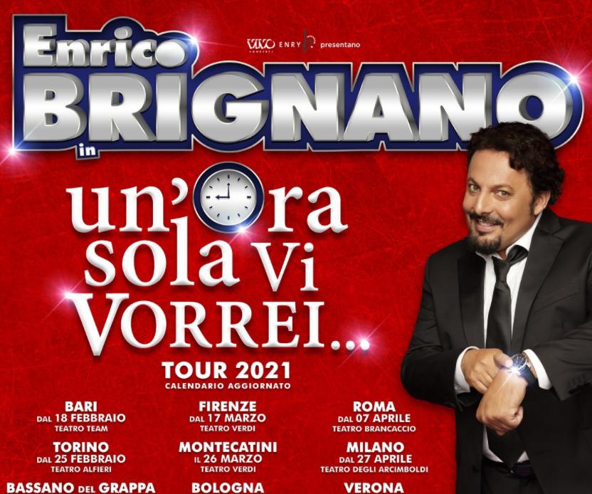 """Le repliche dello spettacolo di Enrico Brignano """"Un'ora sola vi vorrei"""" spostate al 2021"""